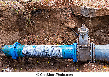 Water PVC Plastic Pipes. - Water PVC Plastic Pipes in Ground...