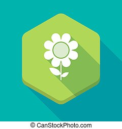 Long shadow hexagon icon with a flower