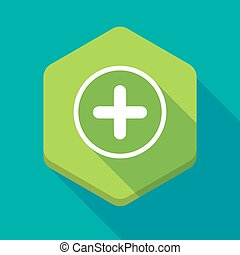 Long shadow hexagon icon with a sum sign - Illustration of a...