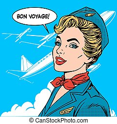 Bon voyage stewardess airplane travel tourism pop art retro...