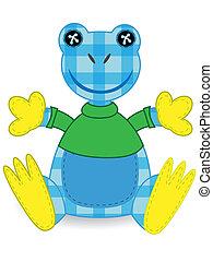 Stuffed Animal Patchwork Blue Amazon Frog - Stuffed Frog...
