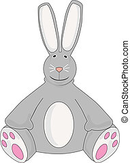 Stuffed Animal Gray Bunny - toy like illustrated gray rabbit