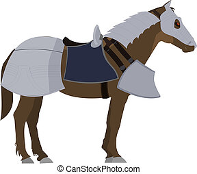 Brown Horse in armor - Horse in old fashion metal armor