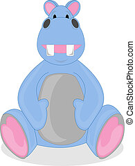 Happy Light Blue Hippo