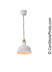 Hanging lamp isolated. - White hanging lamp isolated on...