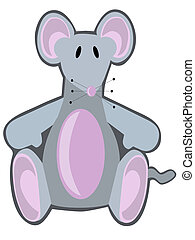 Button nose cute illustration of light gray stuffed animal style mouse
