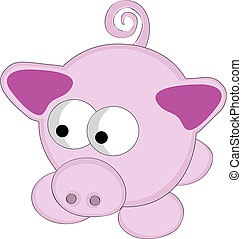 Vector illustration of surreal style cartoon pink pig