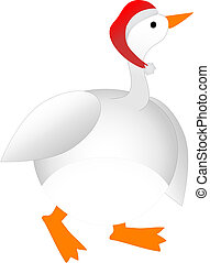 Plump Cartoon Christmas Goose wearing Santa Hat - Holiday...