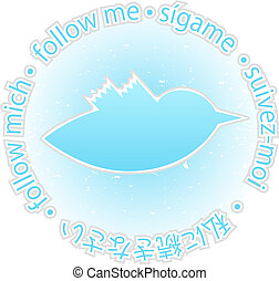 Multilingual follow me texture blue twitter bird badge -...