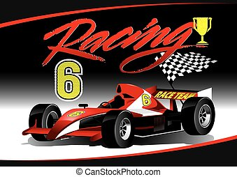 Red open wheel racing car with trophy .