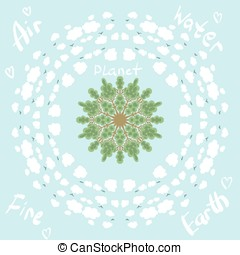 circle pattern with trees and clouds eco planet - circle...