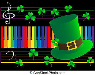 Piano keys and green hat - Color piano keys,clover and green...