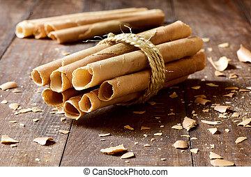 neulas, típico, delgado, galleta, Rollos, comido, en,...