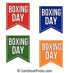 Boxing day ribbons set in different colors on white...