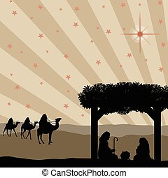 Christmas nativity scene with baby Jesus in the manger, Mary...