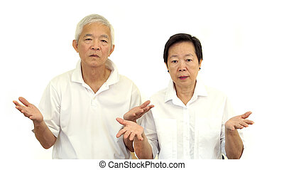 Asian senior couple do not like a deal Upset and do not...