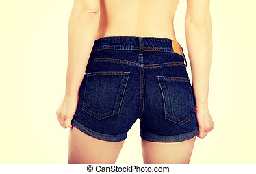 Sexy woman in jeans shorts - Sexy woman body in jeans shorts...