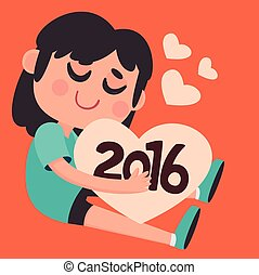 Cute Girl Hugging the Upcoming New Year 2016 - Vector...
