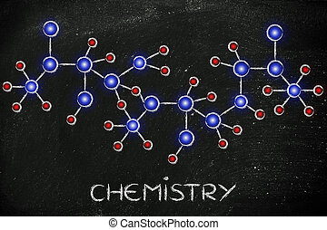 molecule inspired illustration with text Chemistry -...