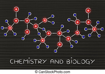 molecule inspired illustration with text Chemistry and...