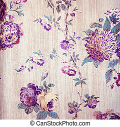 Vintage shabby chic beige wallpaper with violet floral...