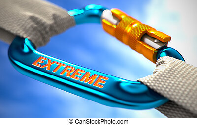 Blue Carabiner with Text Extreme. - Strong Connection...