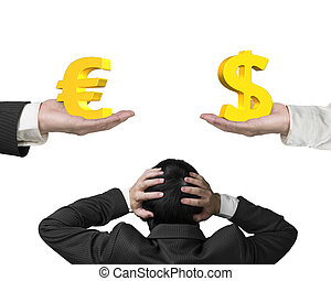 Dollar sign and Euro symbol with businessman hand holding...