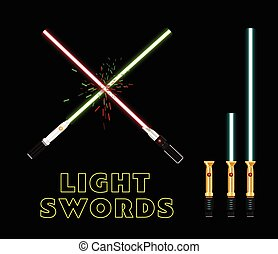 Crossed light swords. Flat style vector infographic design.