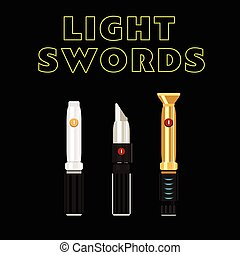 light future swords set. Laser weapon from galaxy. Flat...