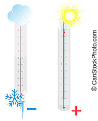 Two broken thermometers on white background