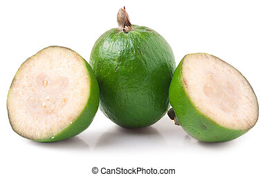 One whole and a half feijoa isolated on white background.