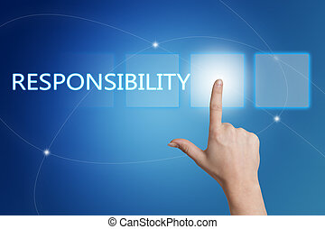 Responsibility - hand pressing button on interface with blue...