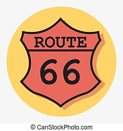route 66 signeps - route 66 sign circle icon with shadow