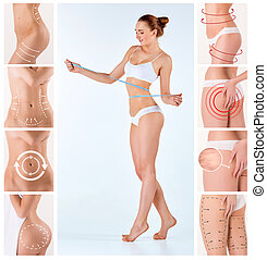 Collage of female body with the drawing arrows. Fat lose,...
