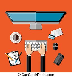 Modern business office workspace Vector illustration