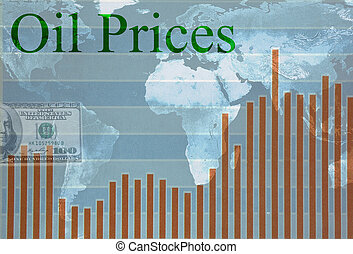 Global oil prices - World map and chart with Oil Prices text...