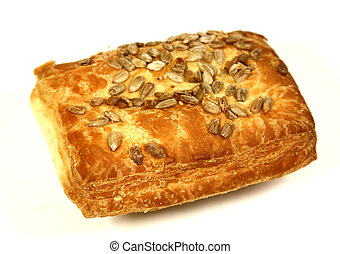 Bun with puff pastry on white background