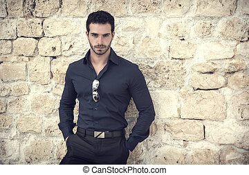 Gorgeous Young Elegant Man Against Old Wall - Half Body Shot...
