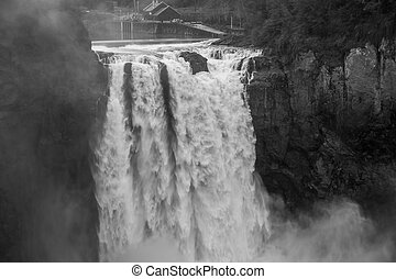Powerful Snoqualmie Falls BW 2 - A heavy mist rises as...