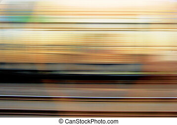Moving train - Moving yellow train and an empty railway...