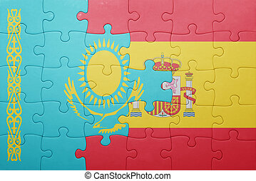 puzzle with the national flag of spain and kazakhstan ....