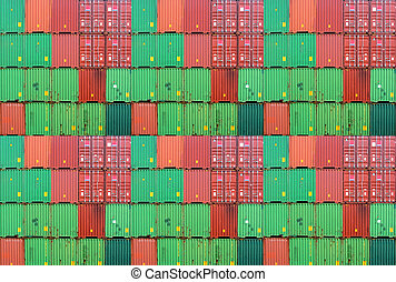 Cargo container - Assembly of colorful cargo container on a...