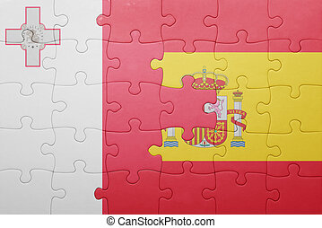 puzzle with the national flag of spain and malta