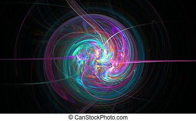 Fractal spiral woven from thin jets, stars and shine Fractal...