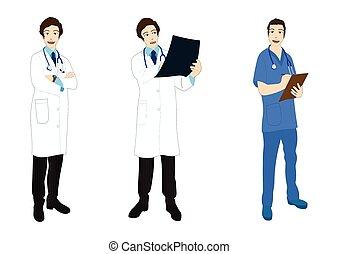 Medical Staff Full Body Asian Color Vector Illustration
