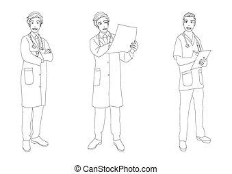Medical Staff Man Full Body Vector Illustration