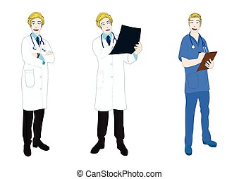 Medical Staff Full Body Caucasian Color - Medical Staff Full...