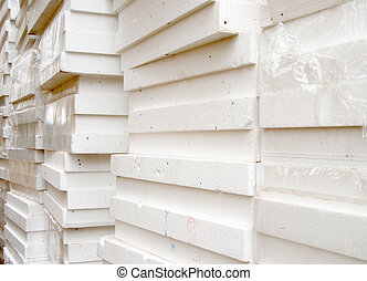 Styrofoam - White panels of styrofoam for thermal insulation
