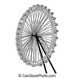 London eye design over white background, vector illustration