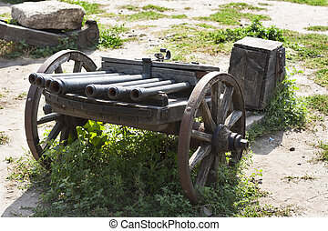 Ancient cannon on wheels photo